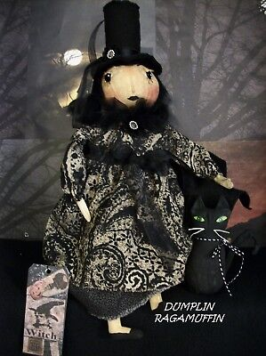 Primitive Folk art doll and kitty, Halloween display, by Dumplinragamuffin