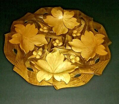 Tray Platter Plate Wood  Hand Carved Fall Autumn Leaves & Berries