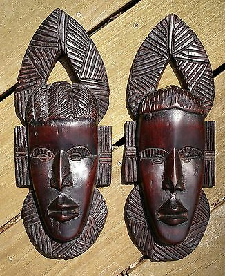Lot of 2 - Hand Carved Wooden African Tribal Mask - MADE IN AFRICA