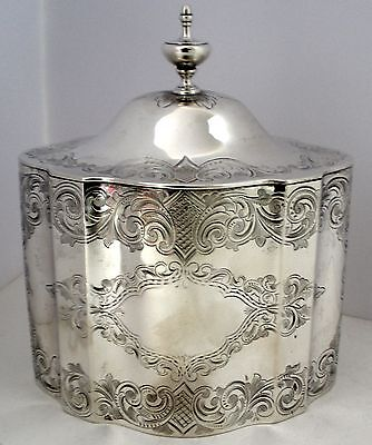 American Sterling Silver Hand Engraved Tea Caddy William Gale & Son   C. 1862