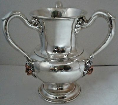 Sterling & Copper Mixed Metals Figural Indian 3 Handled Loving Trophy Cup 1905