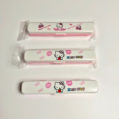 Kids Girl/Boy Hello kitty Lunch Box Fork+Spoon+Chopsticks Set Case Dinnerware