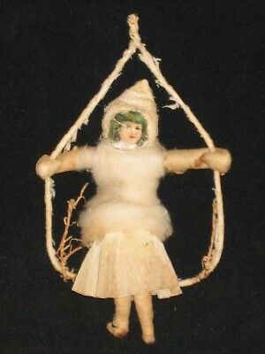 Spun Cotton Girl On Swing Batting Scrap Diecut German Christmas Decoration 1900s