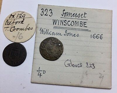 x2 (Two!) 17th Century Farthings - with Very old tickets (A305)