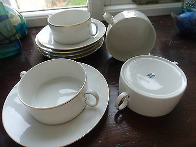 3 Thomas soup bowls and saucers gold medallion division of Rosenthal