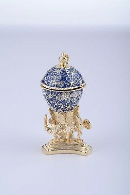 Blue Mini Egg & frogTrinket Box Handmade by Keren Kopal Austrian  Crystals