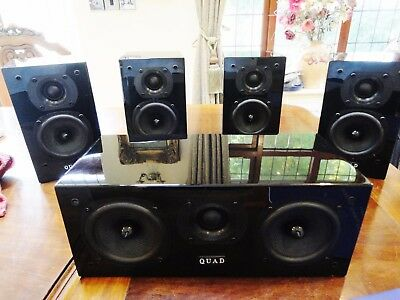 Quad L Series L-ite 5 speaker system Front x 2 Center x 1 Rears x 2 Piano Black