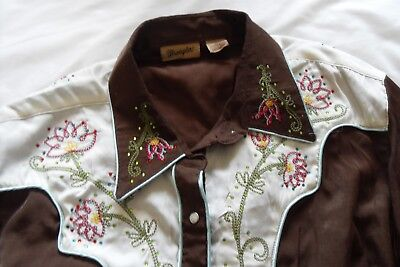 Wrangler Ladies Country N Western Shirt. Brown And Diamante Size 16