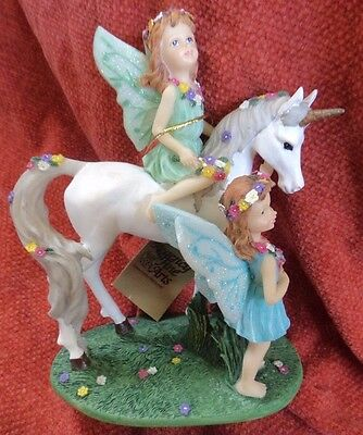 Unicorn & 2 fairies Woodland Fairy Collection by Regency Fine Arts with box
