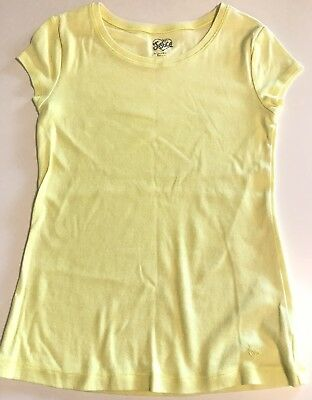 Girls Justice Size 14 Yellow T-shirt Solid Short Sleeve