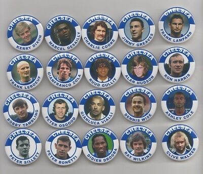 CHELSEA  FC LEGENDS  MAGNETS  ALL 140   38mm  IN SIZE