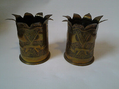 pair of Trench Art vases made from 2 German shell cases - crossed flags