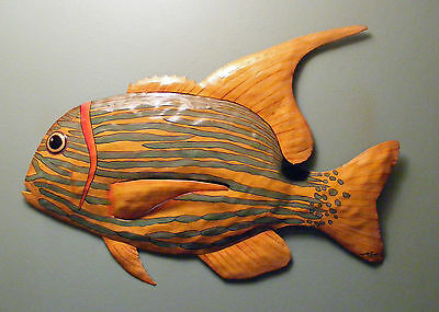 METAL  TROPICAL Fish  HANGING WALL ART DECOR re-clamed from metal drum
