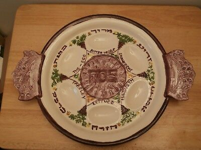 1997 Handmade Ceramic Decorated Passover Seder Plate Tray Signed