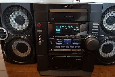 Sony HCD MHC RG40 Mini Component Stereo 3CD Changer Dual Cassette w/ Game Sync