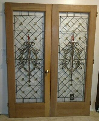 ANTIQUE LEADED /STAINED GLASS FRENCH DOORS From old church Windows Wreath &Torch