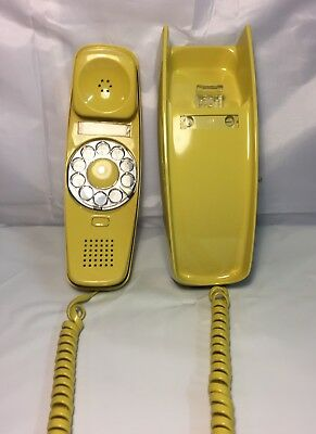 Vintage AT&T Rotary Wall Unit Trimline Phone TELEPHONE Yellow w/cord