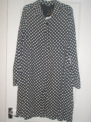 Bnwt Topshop Maternity Long Sleeve Dress Size 16 Navy Blue And White