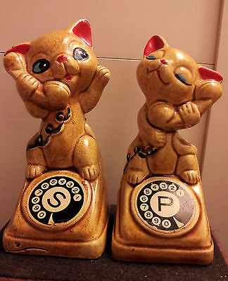 Vintage Cats On Telephones Salt & Pepper Shakers!!!