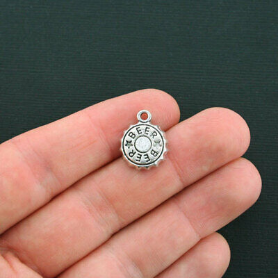 6 Beer bottle caps charms antique silver tone FD167