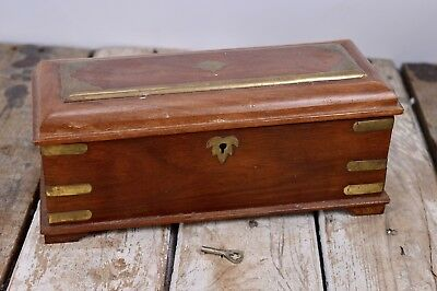 Vintage Hand Carved Wooden Box With Brass Inlay With Key