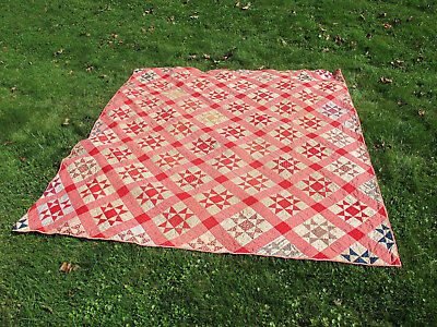 Antique Primitive Early Handmade Star Quilt Red, Pink, Etc   -- Aafa