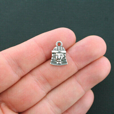10 Pharaoh Charms Antique Silver Tone Egyptian King Charms- SC2580