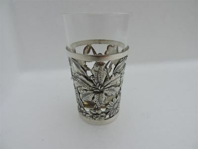 Finest Quality Vintage Japanese Sterling Silver Cup Holder W Glass Insert Japan