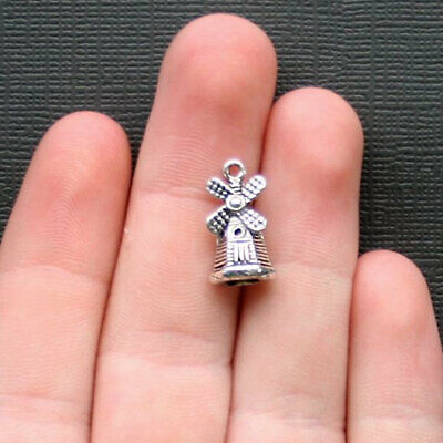 So Cute 6 Robot Charms Antique Silver Tone With Inset Rhinestones SC7246