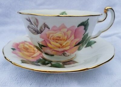 Adderley teacup peace rose yellow pink gorgeous bloom cup saucer beautiful set