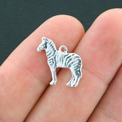 10 Zebra Charms Silver Plated Alloy with Beautiful Shine - SC3868