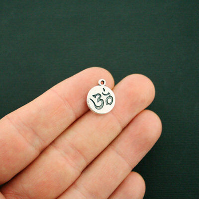 4 Om Charms Antique Silver Tone SC3293