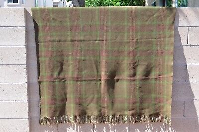 """Antique Chase Wool Carriage Lap Blanket Fringed 58"""" X 66"""" Plaid Green Tag Horse"""