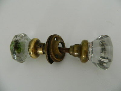 Antique 8 pointed Glass Crystal Door Knob Set W/ Brass Plates and Bases  (Lot A)