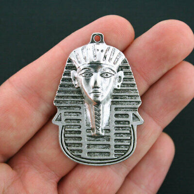 2 Large Egyptian Head Charms Antique Silver Tone - SC4145