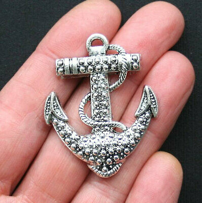 12 Anchor Charms Antique Silver Tone Beuatiful Delicate Design SC4340
