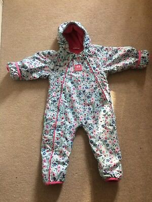 Jojo Maman Bebe Girls Snowsuit 12-18 Months. Fleece Lined Waterproof All In One