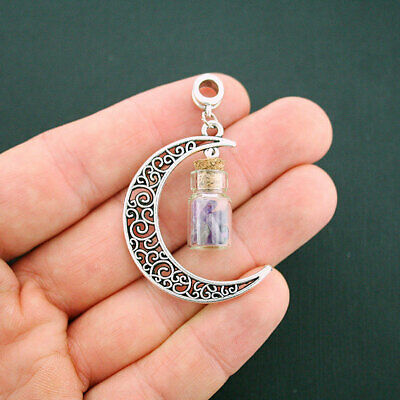 2 Crescent Moon Charms Antique Silver Tone 2 Sided SC2180