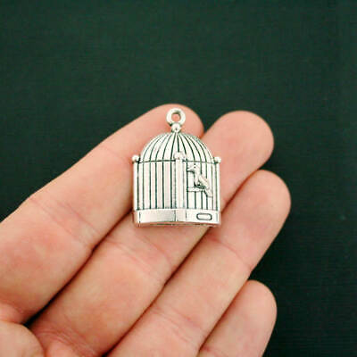 4 Bird Cage Charms Antique Silver Tone Large Size Lovely Detail - SC6793