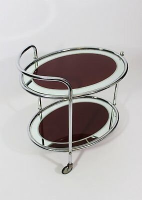 Art Deco chrome and deep red/mirrored glass, two-tier drinks trolley