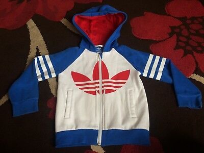 Kids boys Adidas hoody size 4/5 white red blue trefoil