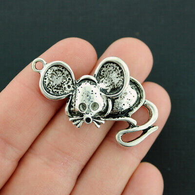 SC651 4 Large Abstract Charms Antique Silver Tone