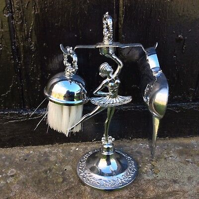 Vintage French Crumb Tray & Stand 1950's Chrome Art Deco Style Figure Dancer