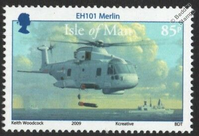 Royal Navy Agusta Westland EH101 MERLIN Helicopter Aircraft Stamp (Isle of Man)