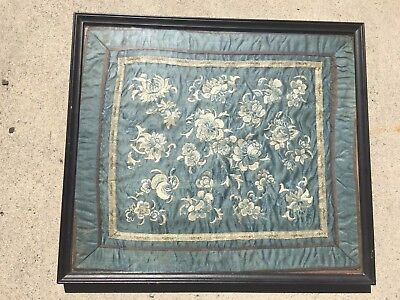 Antique Chinese Silk Floral Needlework Embroidery panel blue and white 19th C