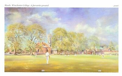 Mounted Print. Cricket  Meads. Winchester College
