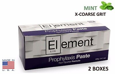 2 BOXES ELEMENT Prophy Paste Cups MINT X-COARSE 200/Box  Dental W/Flouride