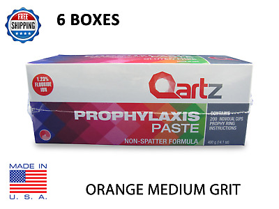 6 BOXES Qartz Prophy Paste Cups ORANGE MEDIUM 200/Box  Dental  W/Flouride