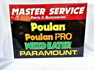"""POULAN """"MASTER SERVICE"""" Sign 23 1/2"""" x 17 1/2""""  Great Color!"""