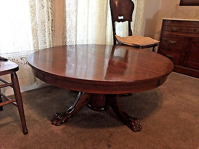 Antique Oak Dining Table, Round with Claw Feet, Transformed to Coffee Table